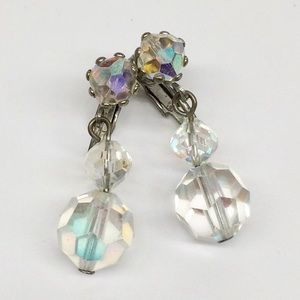 VINTAGE FACETED GLASS AB DROP CLIP ON EARRINGS